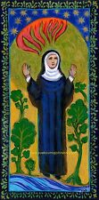 "ST. HILDEGARD of BINGEN—Doctor, Artist, Composer, Botanist—11x14""—Catholic Art"