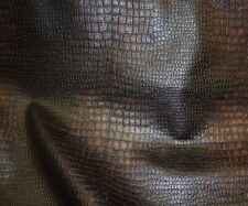 """Vinyl Faux Leather upholstery Black Brown color Alligator  fabric yard 54"""" Wide"""