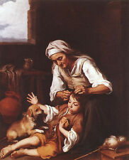 Oil painting Bartolome Esteban Murillo - The Toilette Grandma and grandson dog