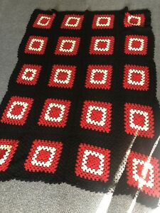 """AFGHAN Granny Square BLANKET Throw Red Black Ivory 64"""" x 49"""""""