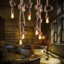 E27 Industrial Pendant Lamp Retro Vintage Edison Hemp Rope Ceiling Light Base