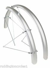 "ETC Silver full length cycle / bike mud guards mountain bike mudguards 26"" MTB"