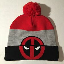 NEW Marvel Comics Winter Hat/Skully/Beanie w/ Poof Ball: DEADPOOL! Double Logos