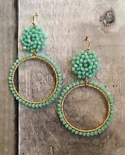 PARKER SPARROW CLASSIC MINT BEADED HOOP POST BACK EARRING