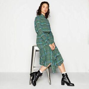 Studio by Preen Khaki Check Print Midi Smart Casual Shirt Dress Boho Size 22