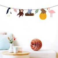 Zoo Animal Bunting Banner Garland Party Wall String Jungle Hanging Flag Decor
