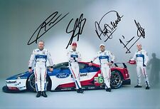 Priaulx, Franchitti, Mucke, Pla Hand Signed Ford GT 12x8 Photo Le Mans.
