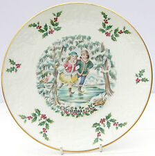 Vintage Royal Doulton Bone China Christmas Plate 1977 Ice Skaters