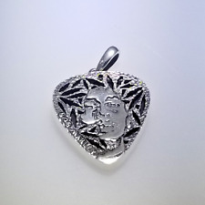 """Royalty Collection Sterling Silver 925 """"Bob Marley & Gibson Guitar Pick"""" Pendant"""