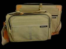Members Only Luggage 2 pc Set Weekend Carryon Taupe Canvas Rainbow Logo  NWOT