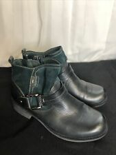 Earth Origins Paris Leather Ankle Boots Women's Size 8.5W Green Black EUC