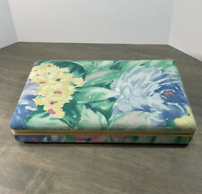 """Vintage Floral Jewelry Box Snap Closure Padded Top 10.5"""" x 6.5"""""""