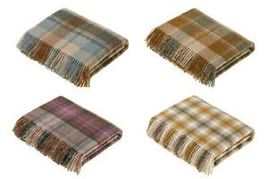 Bronte Legacy Country Check 100% Wool Blanket Throw in 7 colours - Made in UK