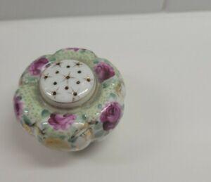 Nippon moriage/beaded porcelain hand painted floral salt/pepper shaker
