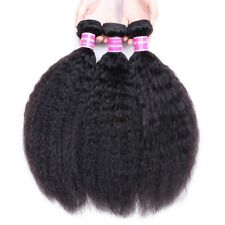 Brazilian Kinky Straight Hair Remy Human Hair Extensions 3 Pieces Double Weft