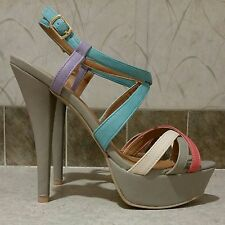 CHARLOTTE RUSSE Chance-42 Taupe Combo Color Straps Platform Stiletto Sandals 8