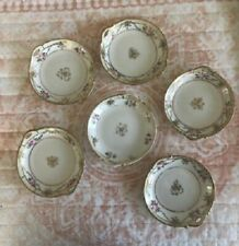 Nippon Vintage Six Hand Painted Yellow Floral Gold Trim Plates Saucers
