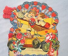 Large Vintage 1920's Fold Out Valentines Card with Great Details
