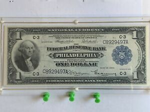1918 $1 National Currency - Federal Reserve Note -  Pennsylvania  C-3 - Awesome