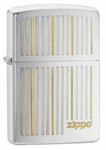 Zippo Lighter Classic Engraved Logo & Lines Brushed Chrome Finish Sealed