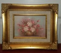 Vintage Robert Cox Oil On Canvas Small Floral Vase Framed Painting