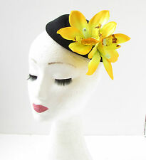 Yellow Black Orchid Flower Pillbox Hat Fascinator Races Rockabilly 1950s Vtg 338