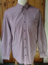 Red/White Checked Long Sleeved 100% Cotton Shirt - Medium