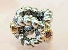 PANDORA | 14K GOLD SS BINDING BEAUTY PINK SAPPHIRE CHARM *NEW* 790410PSA RARE US