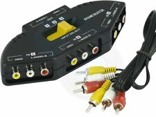 3 Port AV Composite Video Audio RCA Phono Selector TV VCR Game Switch