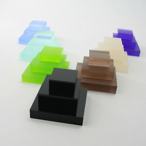 Clear Frost & Coloured Acrylic Display Block - Jewellery - Retail - Art - 20mm