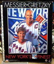 NEW YORK RANGERS beat-up cardbrd poster Wayne Gretzky & Mark Messier hockey 1996