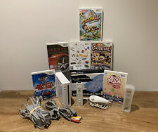 White Nintendo Wii Console Bundle + 6 Family Games + More - Tested & Working