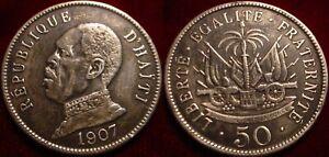 NICE GRADE 1907 LARGE 50 CENTIMES HAITI**NICE DETAILS**