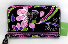 Vera Bradley Purple Punch Turn Lock Wallet Clutch Zip Around New Pink Flower