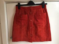Gorgeous Topshop Burn orange Red Real Suede A Line Skirt UK 10