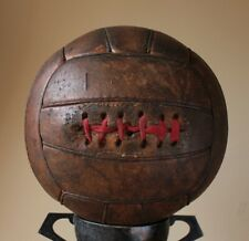 Vintage c1950 Dark Brown Leather Football. Antique Red Lace 18 Panel Soccer Ball