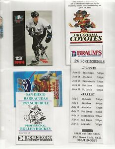 (70) 1993 - 1999 DIFFERENT ROLLER HOCKEY INTERNATIONAL TEAM SCHEDULES ITEMS