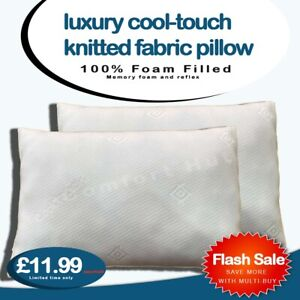 Cool Touch Memory Foam Pillow Head Neck Back Support Medium to Firm Filled