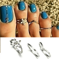 3PCs/set Celebrity Silver Daisy Toe Rings Women Punk Style Fashion Beach Jewelry