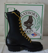 """White's Boots 10"""" Hathorn Smoke Jumper Black Leather Boots UK5 Handcrafted USA"""