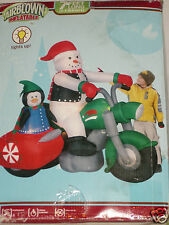 New 7' Lighted Christmas SNowman Penguin Motorcycle Chopper Airblown Inflatable