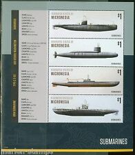 MICRONESIA  2015  SUBMARINES  SHEET OF FOUR PART I  MINT NH