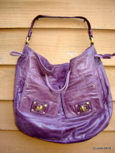 large JUICY COUTURE faded-purple-leather PURSE w/unique clasp system~sig inner