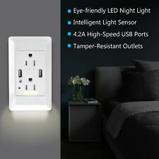 With LED Nightlight 4.2A Smart High Speed USB Outlet Home Wall Socket Panel Plug