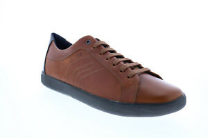 Geox U Jharrod A Mens Brown Leather Lace Up Euro Sneakers Shoes