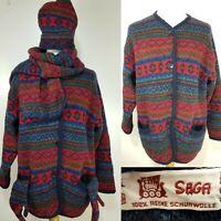 SAGA Vintage Red Blue Green Wool Icelandic Fair Isle Cardigan Size L Hat Scarf