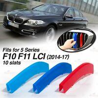 10 Slat Kidney Grille  M-Color Cover Trim Clip for BMW 5 Series F10 F11 2014-17