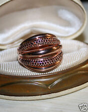 Ross Simons 18k Rose Gold verml/Sterling silver pave RED DIAMOND 5 row ring