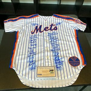 Stunning 1986 New York Mets World Series Champs Team Signed Game Jersey Steiner
