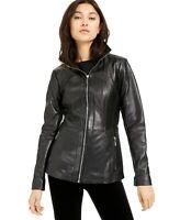 Michael Kors Womens Leather Zip-Front Jacket Medium Black